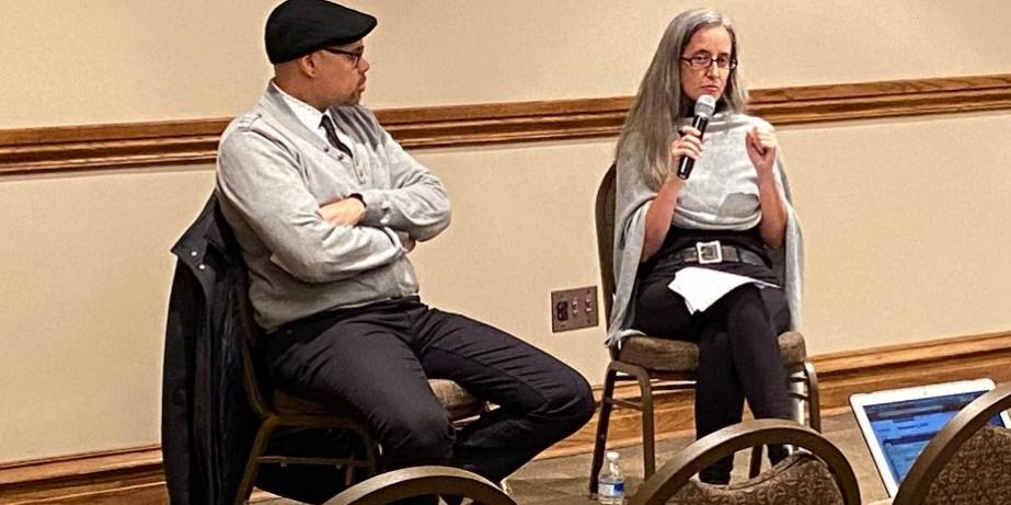 "Dr. Damien Sojoyner (left) and Dr. Sabina Vaught (right) during ""Contested Archives: Black Communal Strategies Against the Carceral State,"" held at the University of Oklahoma on Nov. 5, 2019."